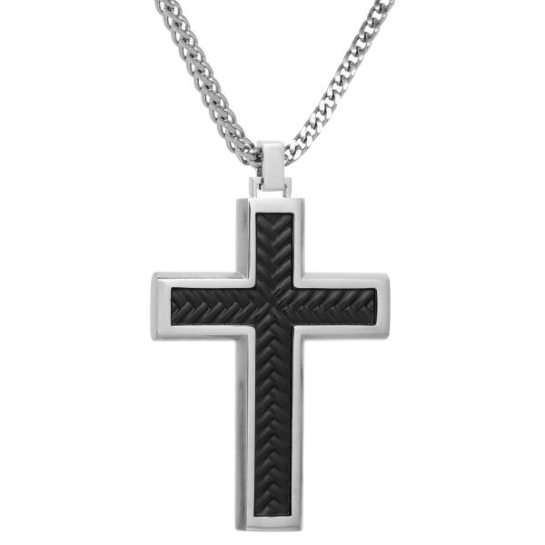 Black Ion Plated Stainless Steel Textured Cross Pendant - 24 Inch Box Chain