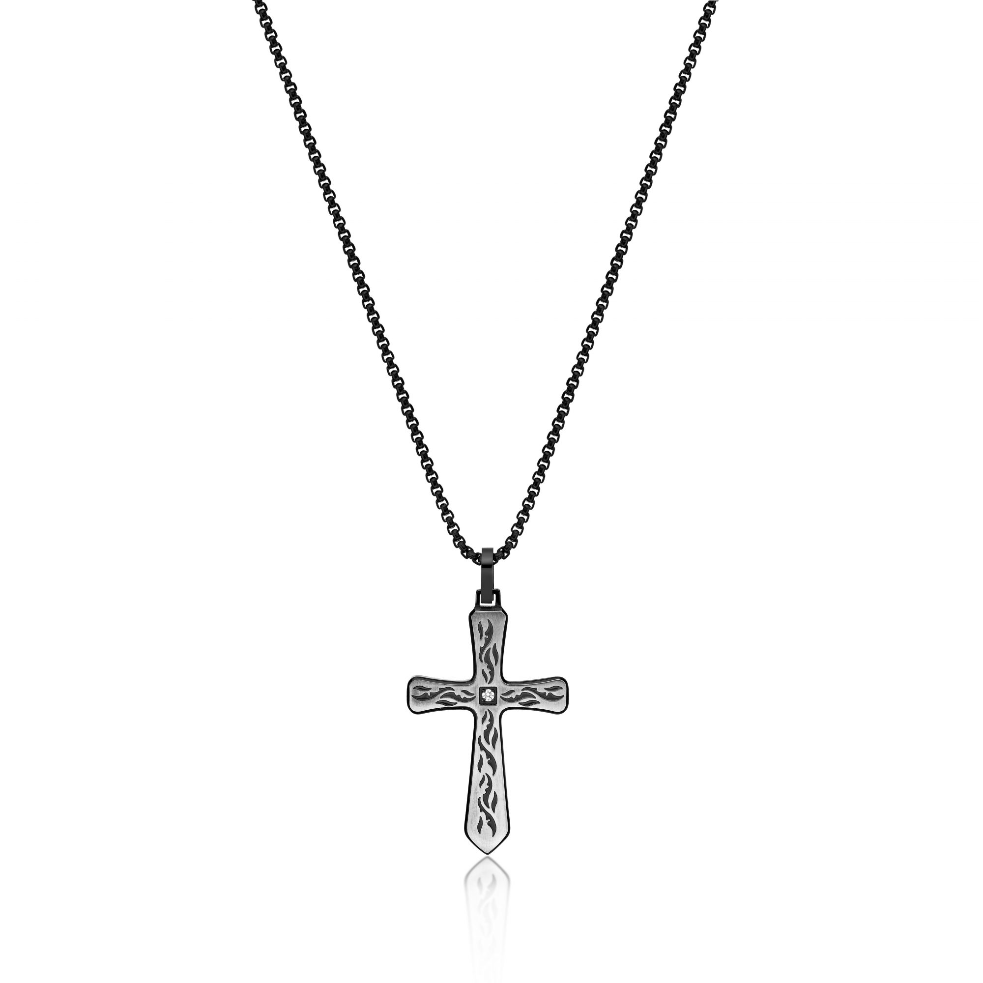 0.01 Round Cubic Zirconia Black Ion Plated Stainless Steel Etched Cross Pendant - 24 Inch Box Chain