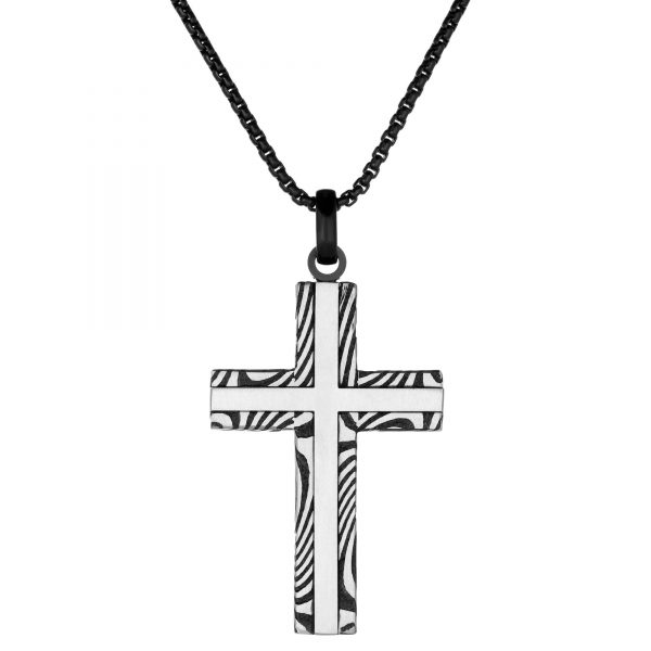 Black Ion Plated Stainless Steel Modern Cross Pendant - 24 Inch Box Chain