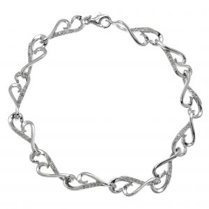 0.30 Round Diamonds 925 Sterling Silver Infinity Bracelet - 7 Inches
