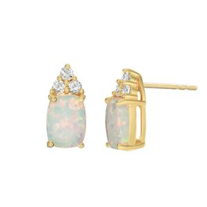 2 Micron Yellow Gold Plated Sterling Silver Earrings with Cushion Created Opal and White Topaz