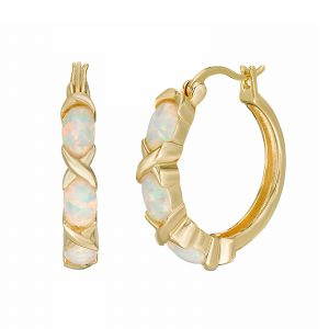 2 Micron Yellow Gold Plated Sterling Silver Earrings with Oval Created Opal