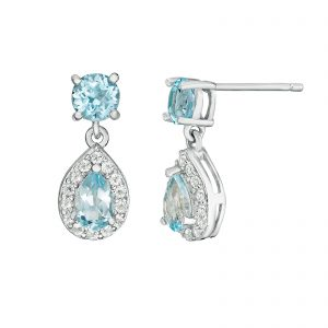 Sterling Silver Earrings with Blue Topaz and White Topaz
