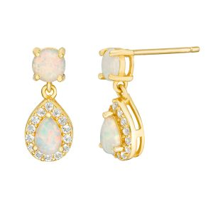 2 Micron Yellow Gold Plated Sterling Silver Earrings with Created Opal and White Topaz