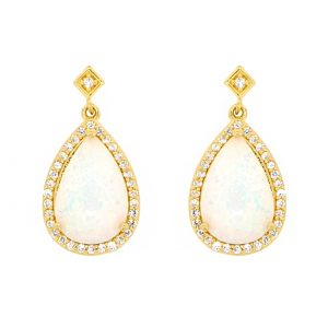 2 Micron Yellow Gold Plated Sterling Silver Earrings with Pear Shape Created Opal and White Topaz