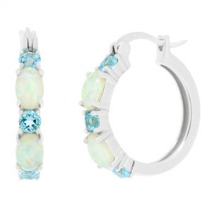 Sterling Silver Earrings with Created Opal and White Topaz