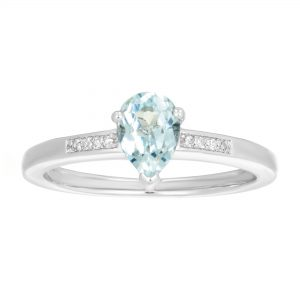 0.65 Pear Shaped Created Aquamarine 925 Sterling Silver Ring with 0.02 Created White Sapphire Size - 6