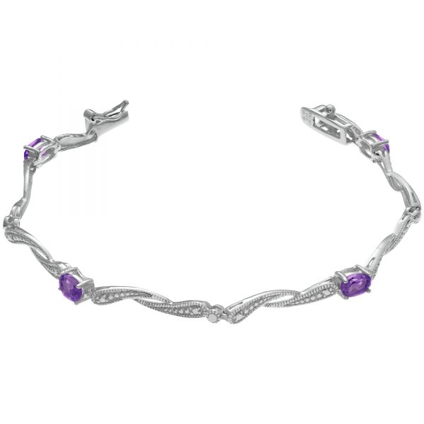 0.45 Oval Amethyst 925 Sterling Silver Twist Bangle - 7 Inches