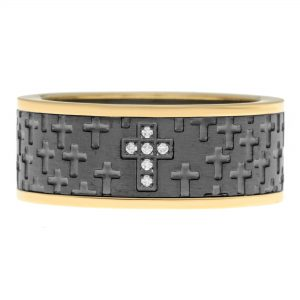 Gold Ion Plated Stainless Steel Cross Ring with Cubic Zirconia - 9 MM Width - Size 9