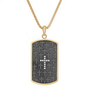 0.11 Round Shaped Cubic Zirconia Gold Ion Plated Stainless Steel Minimlaist Dog Tag Pendant - 24 Inch Box Chain