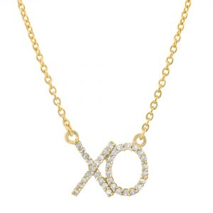 0.15 Diamond 10K Yellow Gold XO Necklace with - 18 Inch Cable Chain