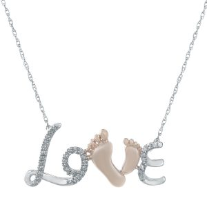 0.11 Round Diamonds 10K White Gold Love with Mother & Child Feet Necklace with - 18 Inch Cable Chain