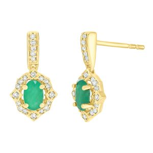 0.30 Oval Emerald 10K Yellow Gold Clasical Earrings with Diamond - 6.5 MM