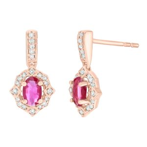 0.35 Oval Ruby 10K Rose Gold Clasical Earrings with Diamond - 6.5 MM