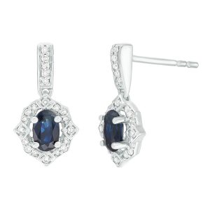 0.35 Oval Sapphire 10K White Gold Clasical Earrings with Diamond - 6.5 MM