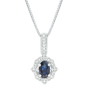 0.60 Oval Sapphire 10K White Gold Clasical Pendant with Round Diamond - 18 Inch Box Chain