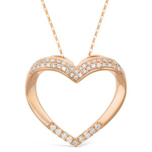 0.12 Round Diamonds 10K Rose Gold Curved Heart Pendant with 0.09 Round - 18 Inch Elongated Box Chain