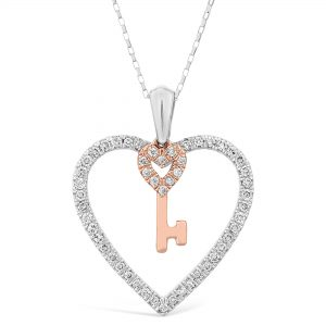 0.25 Round Diamonds 10K White Gold Two Tone Heart and Mini Key Pendant with - 18 Inch Elongated Box Chain