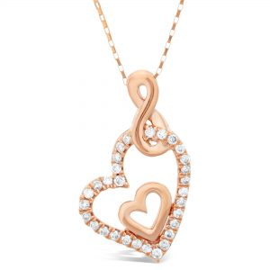 0.02 Round Diamond 10K Rose Gold Double Heart & Infinity Pendant with 0.19 - 18 Inch Elongated Box Chain
