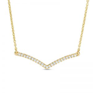 0.13 Round Diamond 10K Yellow Gold Collar Bone Necklace with - 18 Inch Cable Chain