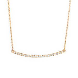 0.14 Round Diamond 10K Yellow Gold Curved Bar Necklace with - 18 Inch Cable Chain