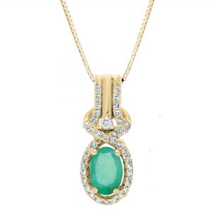 0.80 Oval Emerald 10K Yellow Gold Classic Pendant with Round Diamond - 18 Inch Box Chain