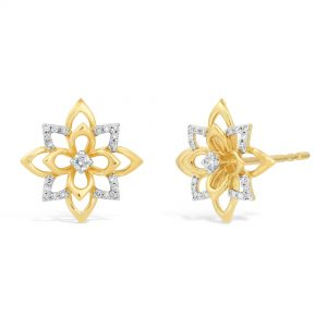 0.10 Round Diamonds 925 Sterling Yellow Silver Layered Flower Stud Earrings -
