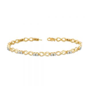 0.11 Round Diamonds 925 Sterling Yellow Silver Infinity Bracelet - 7.5 Inches
