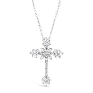 round-shape Diamond 10K White Gold Baugette Pendant with - 18 Inch Box Chain