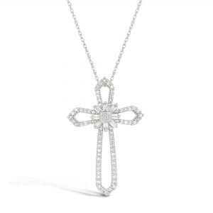 Round Diamonds 10K White Gold Outline Pendant with - 18 Inch Box Chain