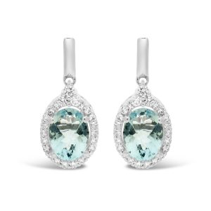 0.75 Oval Aquamarine 10K White Gold Vintage Earrings with - 6.5 MM