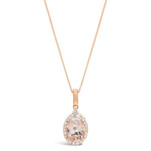 1.10 Oval Morganite 10K Rose Gold Vintage Pendant with Round Diamond - 18 Inch Box Chain