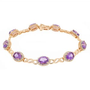 10.80 Oval Amethyst 925 Sterling Pink Silver Gorgeous Bracelet - 7.5 Inches