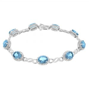 14.40 Oval Blue Topaz 925 Sterling Silver Gorgeous Bracelet - 7.5 Inches