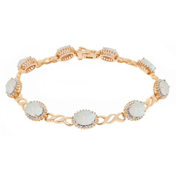 4.50 Oval Created Opal 925 Sterling Yellow Silver Gorgeous Bracelet - 7.5 Inches