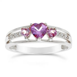 1 Heart Shaped Created Alexandrite 925 Sterling Silver Ring with 0.30 Created Alexandrite, Size - 5