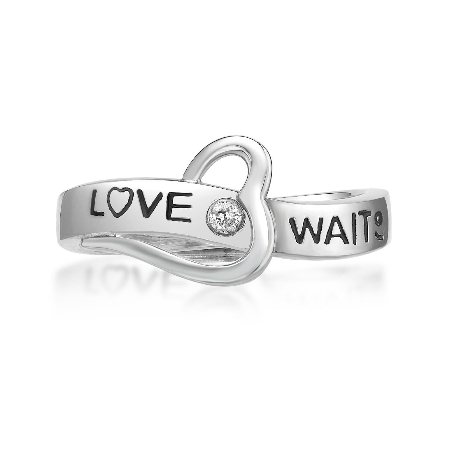 """""""Love Waits"""" Purity Ring with Heart and .03 cttw Diamond Accent - Sterling Silver"""