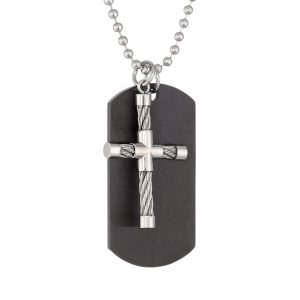 Black Ion Plated Stainless Steel Cable Cross Tag Pendant - 22 Inch Ball Chain