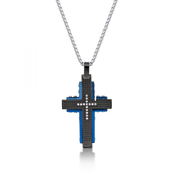0.15 Round Cubic Zirconia Blue Ion Plated Stainless Steel Two Tone Cross Pendant - 24 Inch Box Chain