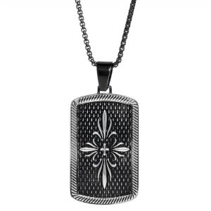 Black Ion Plated Stainless Steel Fleur de Lis Dog Tag Pendant - 24 Inch Box Chain