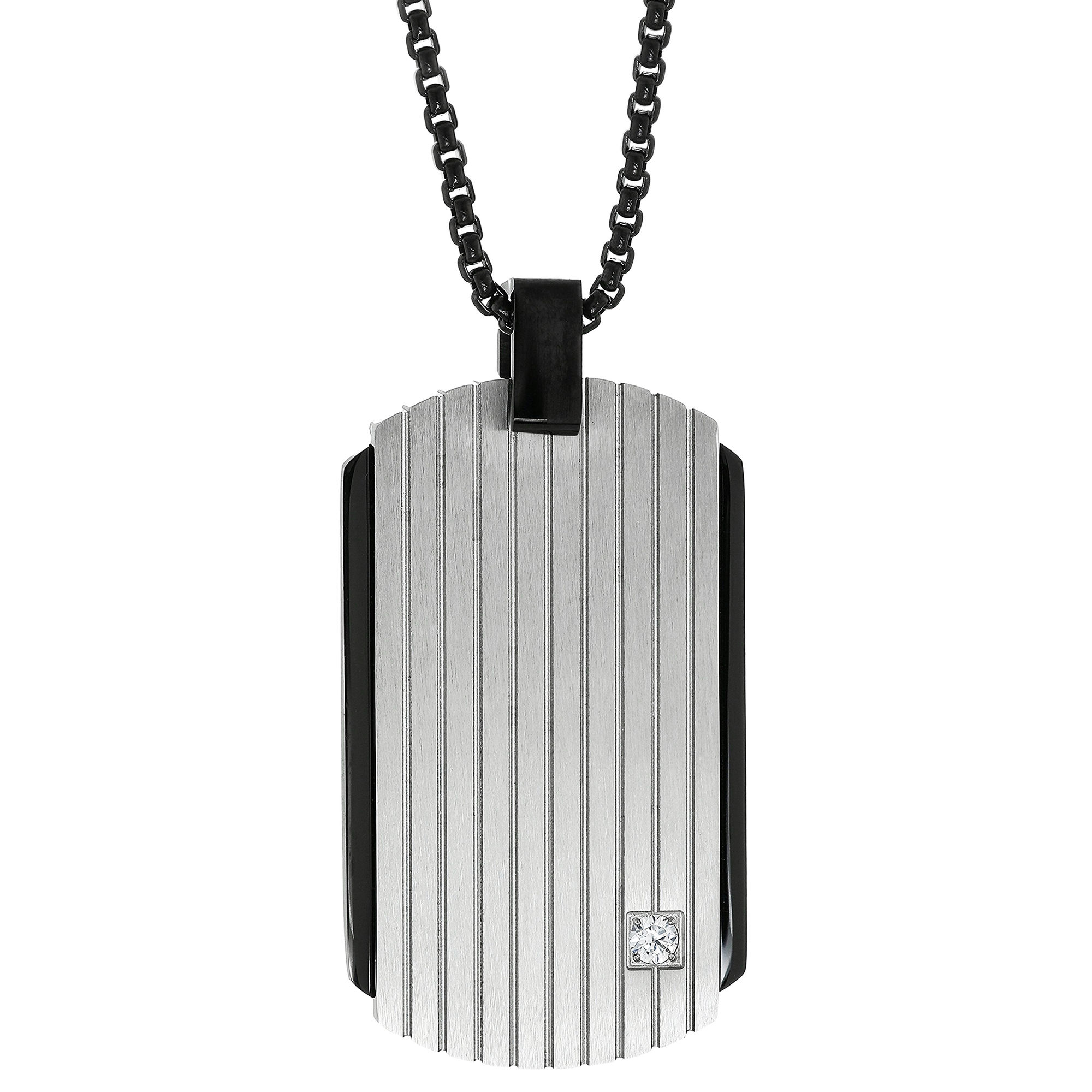 0.01 Round Cubic Zirconia Black Ion Plated Stainless Steel Classic Dog Tag Pendant - 24 Inch Box Chain