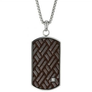 0.01 Round Cubic Zirconia Stainless Steel Pattern Dog Tag Pendant - 24 Inch Box Chain