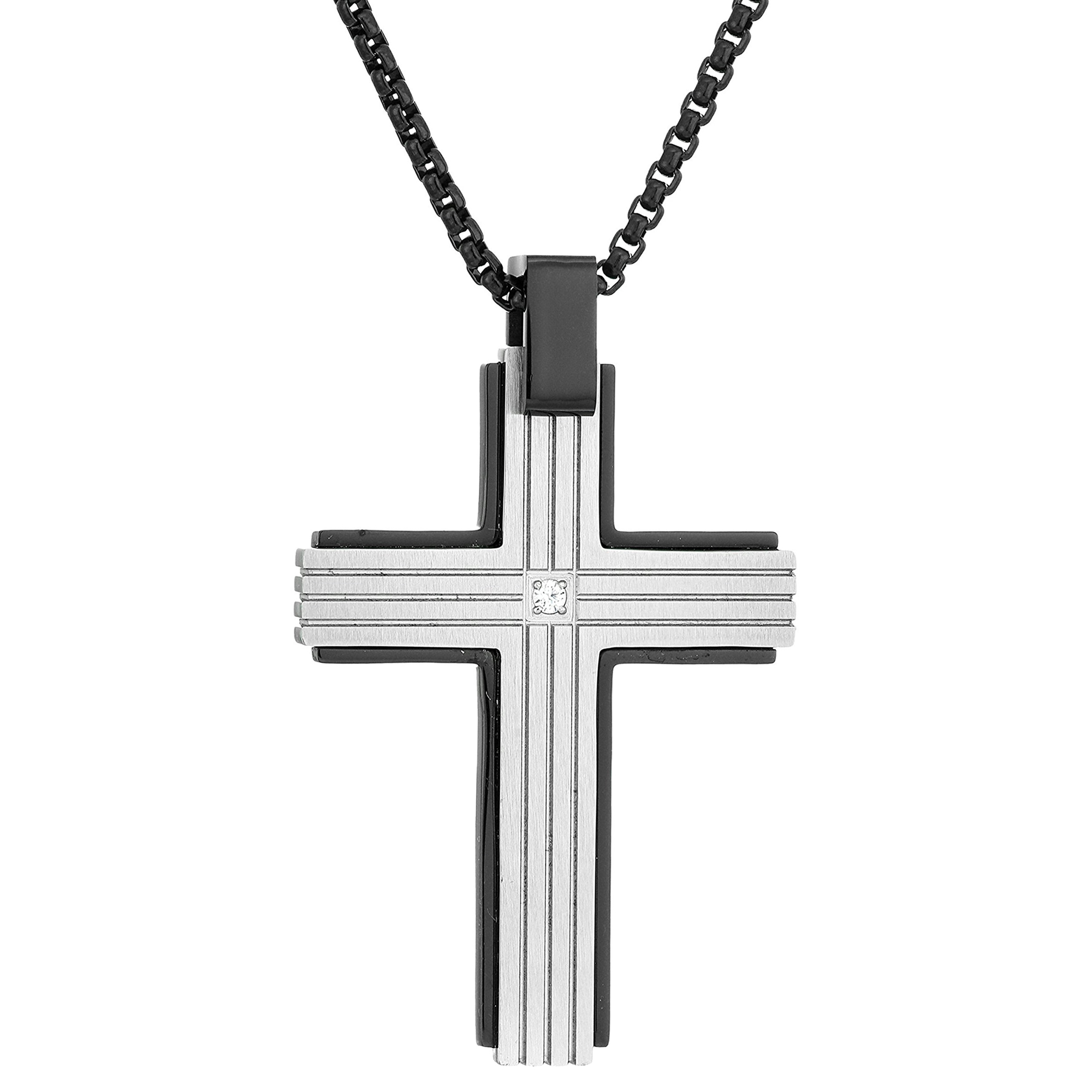 0.01 Round Cubic Zirconia Black Ion Plated Stainless Steel Contemporary Cross Pendant - 24 Inch Box Chain