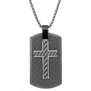 Black Ion Plated Stainless Steel Contemporary Carbon Fiber Cross Tag Pendant - 24 Inch Box Chain