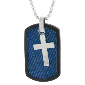 Blue Ion Plated Stainless Steel Textured and Rubber Cross Tag Pendant - 24 Inch Box Chain