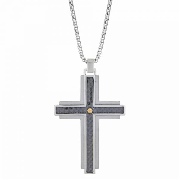 Stainless Steel Tiered Carbon Fiber Cross Pendant - 24 Inch Box Chain