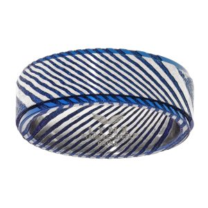 Damascus Steel Blue Ion Plated Contemporary Ring - 8 MM Width - Size 10