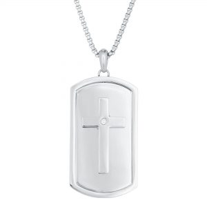 0.01 Round Cubic Zirconia Stainless Steel Reversable Lord's Prayer Cross Tag Pendant - 24 Inch Box Chain