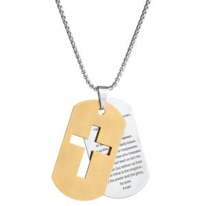 Gold Ion Plated Stainless Steel Lord's Prayer Two Tone Cross Tag Pendant - 24 Inch Box Chain