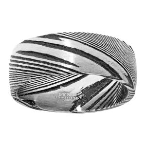 Damascus Steel Black Ion Plated Flashy Ring - 8.5 MM Width - Size 10